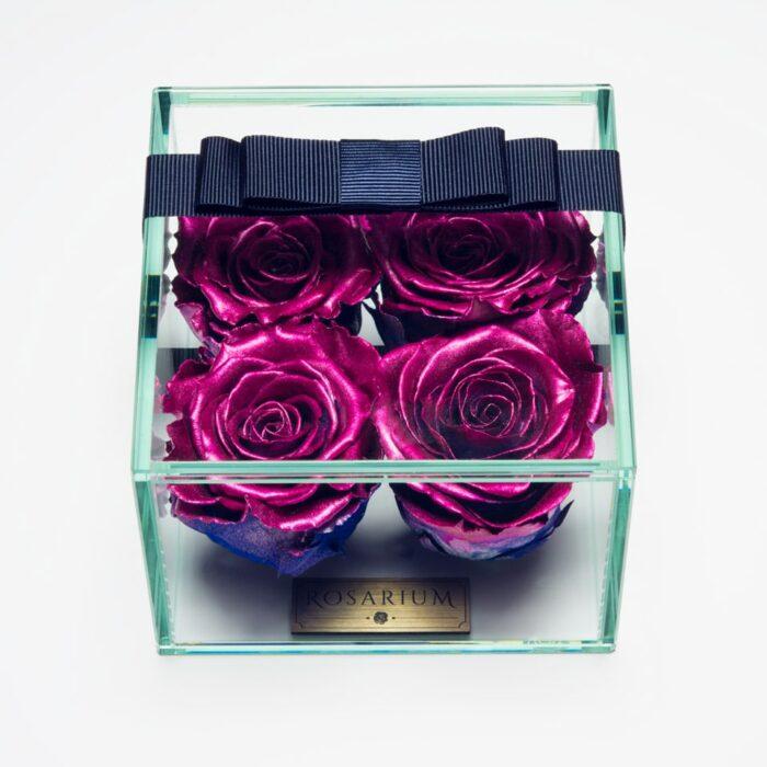 4 darabos pink és kék örök rózsa doboz