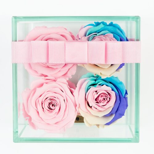 4 darabos rózsaszín-szivárvány örök rózsa doboz