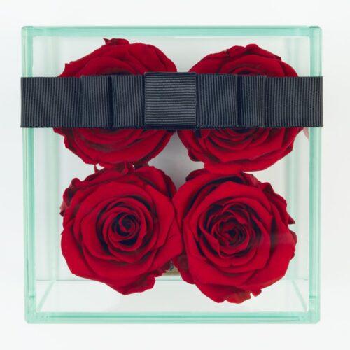 4 darabos vörös örök rózsa doboz