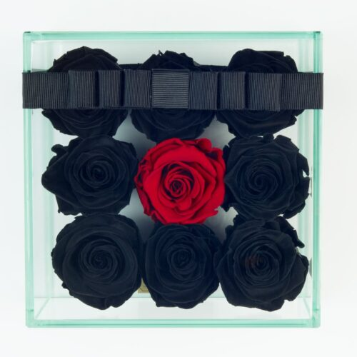 9 darabos fekete-vörös örök rózsa doboz