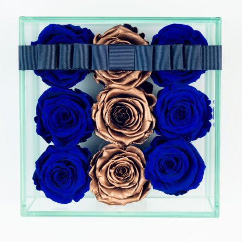 9 darabos kék-arany örök rózsa doboz