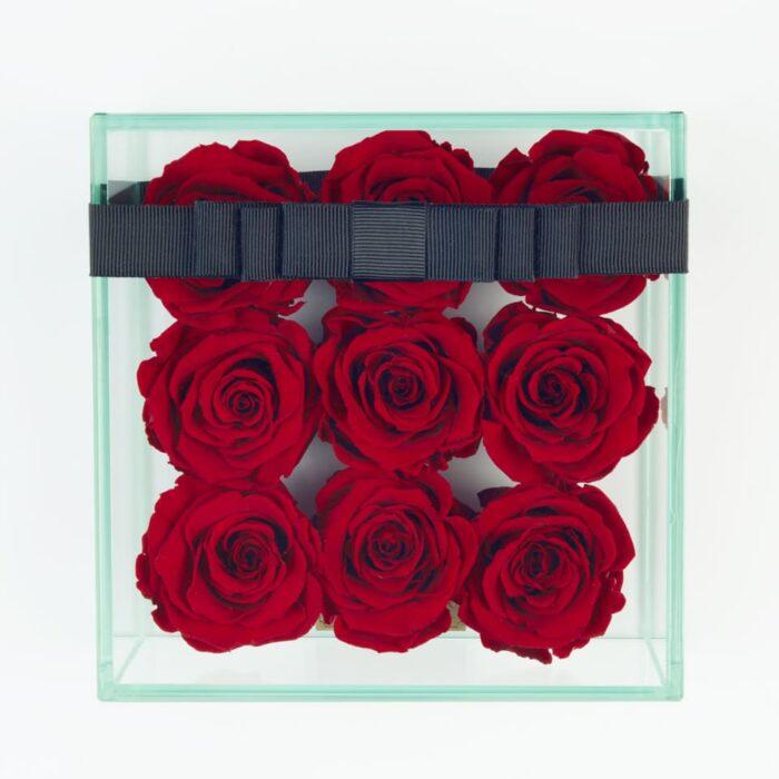 9 darabos vörös örök rózsa doboz
