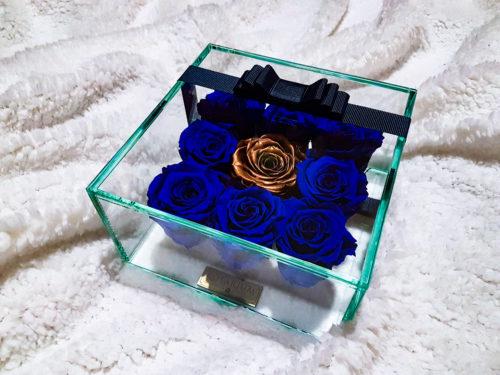 kék arany rózsa doboz